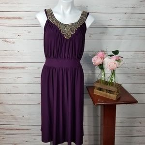 Haani Purple Sleeveless Embellished Stretch Dress